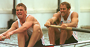 Henley. United Kingdom. GBR  M2- Bow Steven REDGRAVE and Matt PINSENT setting a new record, in the Goblets, Henley Royal Regatta. Henley Reach, England.<br />