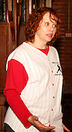 "Tamra Francis as Lee Pepper during Mayhem & Mystery's production of ""Baseball Battle"" at the Spaghetti Warehouse in downtown Dayton, Monday, May 7, 2012."
