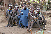 Africa, Ethiopia, Omo Valley, Karo tribesmen children
