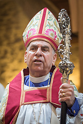 20 April 2019, Jerusalem: Archbishop the Most Reverend Suheil S. Dawani marks the conclusion of Easter Sunday service at the Cathedral Church of Saint George the Martyr, Jerusalem.