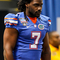 Jan 2, 2013; New Orleans, LA, USA; Florida Gators linebacker Ronald Powell (7) before the Sugar Bowl against the Louisville Cardinals at the Mercedes-Benz Superdome. Louisville defeated Florida 33-23. Mandatory Credit: Derick E. Hingle-USA TODAY Sports