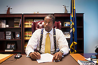 13 November, 2008. New York, NY. Senator Malcolm Smith is here in his New York office. Sen. Malcolm Smith will be the Senate Majority leader when the Senate changes hands in January. Malcolm Smith is an African-American member of the New York State Senate representing the 14th Senate district in Southeast Queens. First elected in 2000, Smith is a Democrat and was elected Minority Leader in January 2007.<br /> <br /> ©2008 Gianni Cipriano for The New York Times<br /> cell. +1 646 465 2168 (USA)<br /> cell. +1 328 567 7923 (Italy)<br /> gianni@giannicipriano.com<br /> www.giannicipriano.com
