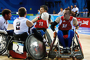 Alan Ash and Andy Barrow of Great Britain in the quad rugby semi final against the USA in the USTB Gymnasium at the Paralympic games, Beijing, China.  15th  September 2008