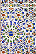 MARRAKESH, MOROCCO - 19TH APRIL 2016 - Close up of intricate and detailed mosaic pattern tiling lining the Sufi burial shrines of the seven sacred saints of Marrakesh, Morocco.