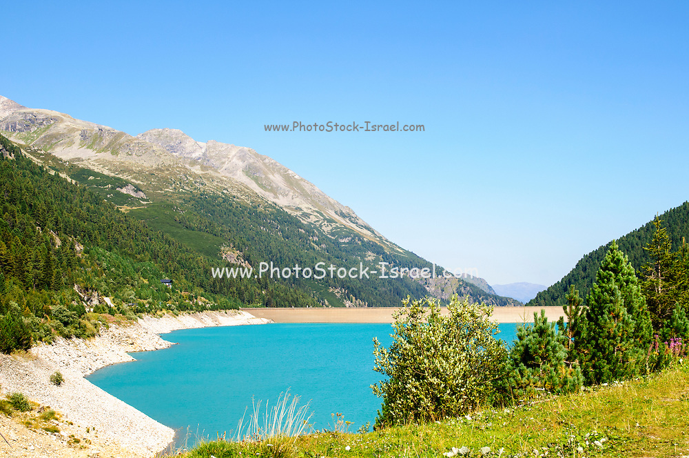 Austria, Zillertal High Alpine nature Park Hochgebirgs Naturpark Schlegeis dam and reservoir with the Schlegeis glacierin the background