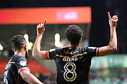 Bradford City midfielder Timothee Dieng (8) celebrating after scoring 1-1 during the EFL Sky Bet League 1 match between Charlton Athletic and Bradford City at The Valley, London, England on 14 March 2017. Photo by Matthew Redman.