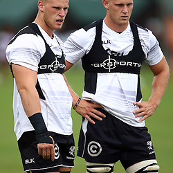 DURBAN, SOUTH AFRICA, 8 ,MARCH, 2016 - Jean-Luc du Preez with Daniel Du Preez during The Cell C Sharks training session  at Growthpoint Kings Park in Durban, South Africa. (Photo by Steve Haag)<br /> <br /> images for social media must have consent from Steve Haag