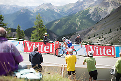 Severine Eraud (FRA) of FDJ Nouvelle Aquitaine Futuroscope Team reaches the final meters of La Course 2017 - a 67.5 km road race, from Briancon to Izoard on July 20, 2017, in Hautes-Alpes, France. (Photo by Balint Hamvas/Velofocus.com)
