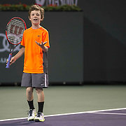 March 7, 2015, Indian Wells, California:<br /> Jagger Leach, son of Lindsay Davenport, plays a point during the McEnroe Challenge for Charity presented by Masimo in Stadium 2 at the Indian Wells Tennis Garden in Indian Wells, California Saturday, March 7, 2015.<br /> (Photo by Billie Weiss/BNP Paribas Open)