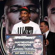 Boxer J'Leon Love speaks at the podium during the undercard final press conference for the Mayweather & Maidana boxing match at the Hollywood Theater, inside the MGM Grand hotel on Thursday, May 1, 2014 in Las Vegas, Nevada.  (AP Photo/Alex Menendez)