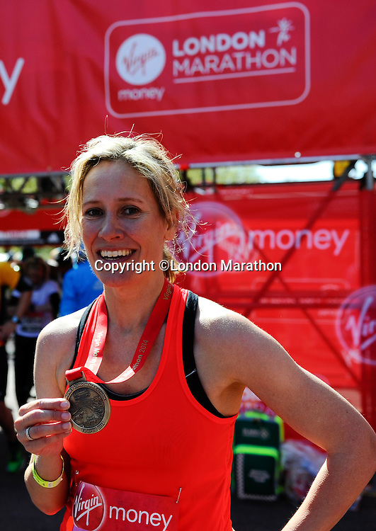Sophie Raworth<br /> The Virgin Money London Marathon 2014<br /> 13 April 2014<br /> Photo: Javier Garcia/Virgin Money London Marathon<br /> media@london-marathon.co.uk