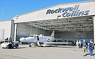 The Sabreliner 50 is towed out of the hanger as current and former Rockwell Collins employees say goodbye to their test aircraft at the Eastern Iowa Airport on Wednesday, January 23, 2013.