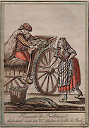 Fishmonger from Bordeaux arguing with an oyster seller, by Jacques Grasset de Saint Sauveur, 1757-1810, from the 'Gens du Petit Peuple', late 18th century, in the Musee d'Aquitaine, Cours Pasteur, Bordeaux, Aquitaine, France. Picture by Manuel Cohen