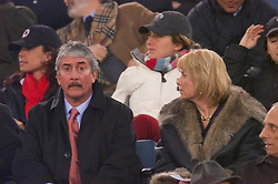 ROME, ITALY - Thursday, February 15, 2001: Liverpool's Chairman David Moores with wife Marjorie (Marge) during the UEFA Cup 4th Round 1st Leg match at the Stadio Olimpico. (Pic by David Rawcliffe/Propaganda)