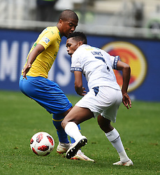 Cape Town-180825- Cape Town City player Gift Links  challenged by Mamelodi Sundowns defender Lyle Lakay in the MTN 8 semi-final at Cape Town Stadum.Photographer :Phando Jikelo/African News Agency/ANA