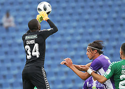 31032018 (Bloem Celtic) goal keeper Kabelo Dambe tackles with (Maritzburg United ) Feliccia Andrea during a match were Maritzburg United walloped Bloemfontein Celtic with early goal in the first half of the game at Harry Gwala Stadium in Petermarizburg yesterday.<br /> Picture: Motshwari Mofokeng/ANA