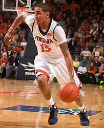 Virginia guard Sylven Landesberg (15) in action against VT.  The Virginia Cavaliers defeated the Virginia Tech Hokies 75-61 at the John Paul Jones Arena on the Grounds of the University of Virginia in Charlottesville, VA on February 18, 2009.