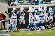The Indianapolis Colts run to the end zone to pose for a group picture after Indianapolis Colts middle linebacker Anthony Walker (50) recovers a first quarter fumble by the Jacksonville Jaguars at the Jaguars 41 yard line during the NFL week 13 regular season football game against the Jacksonville Jaguars on Sunday, Dec. 2, 2018 in Jacksonville, Fla. The Jaguars won the game in a 6-0 shutout. (©Paul Anthony Spinelli)