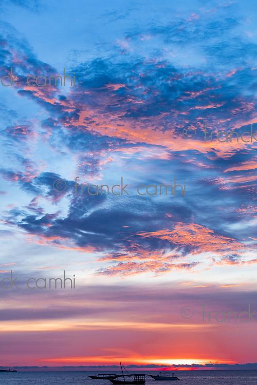 Sunset seascape at Nungwi n Unguja aka Zanzibar Island Tanzania East Africa