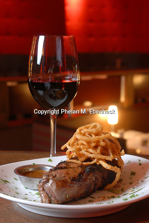 A New York strip steak from a restaurant in Orlando, Florida.