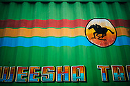 A detail of painting and design on the side of a truck at the local market, Kandy, Sri Lanka, Asia