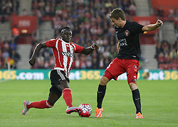 Sadio Mane of Southampton and Jesper Lauridsen of FC Midtjylland challenge for the ball - Mandatory byline: Paul Terry/JMP - 07966386802 - 20/08/2015 - FOOTBALL - ST Marys Stadium -Southampton,England - Southampton v FC Midtjylland - EUROPA League Play-Off Round