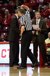 16 November 2015:  Randy Heimerman signals an expired shot clock violation to the scorer. Illinois State Redbirds host the Morehead State Eagles at Redbird Arena in Normal Illinois (Photo by Alan Look)