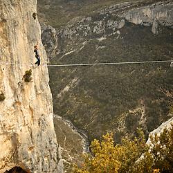 British highliner Nadeem Al-Kafaji sending a 40m highline, 200m high, rigged in the Sordidon sector of Verdon Gorges, France...2012 © Pedro Pimentel