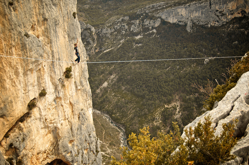 British highliner Nadeem Al-Kafaji sending a 40m highline, 200m high, rigged in the Sordidon sector of Verdon Gorges, France...2012 © Pedro Pimentel