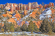 Hoodoos and snow at Bryce Canyon National Park, Utah