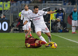 February 3, 2019 - Italy - Hakan Calhanoglu, Patrick Schick during the Italian Serie A football match between A.S. Roma and A.C. Milan at the Olympic Stadium in Rome, on february 03, 2019. (Credit Image: © Silvia Lore/NurPhoto via ZUMA Press)