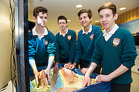 11/11/2015 Repro free:   More than 300 students visited the Marine Institute for Galway Science &amp; Technology Festival and the Sea for Society project. At the event were <br /> pupils Adam Houlihan, Cian O'Boyle, Daniel Fuller and Evan Ward from Colaiste na Coirbe a xbox adapted sand pits that continually reads and applies colours changes and topography to the sand as you move. Photo:Andrew Downes, xposure.
