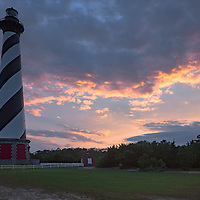Beautiful sunset at the Cape Hatteras Lighthouse. Cape Hatteras National Seashore, NC