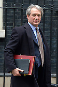 © Licensed to London News Pictures. 20/03/2013. Westminster, UK. Owen Patterson, Conservative MP, Secretary of State for Energy and Climate Change ..Chancellor Of The Exchequer George Osborne poses for photographers whilst holding his red ministerial box outside 11 Downing Street In London, before presenting his annual budget to parliament today 20th March 2013. Photo credit : Stephen Simpson/LNP