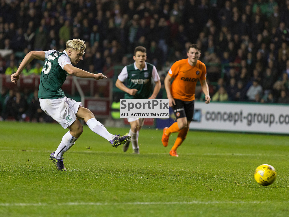 Hibernian FC v Dundee Utd FC<br /> <br /> Jason Cummings (Hibernian) scores from the penalty spot during the Quarter Final of the Scottish League Cup match between Hibernian and Dundee Utd FC at Easter Road Stadium on Wednesday 4 November 2015.<br /> <br /> Picture Alan Rennie.