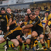 Wycombe, GREAT BRITAIN, Right, Wasps,  Raphael IBANEZ get to grips with Leeds Viliame MA'ASI, during the Guinness Premiership Game, London Wasps vs Leeds Carnegie, at Adams Park. 05/01/2008  [Mandatory credit Peter Spurrier/ Intersport Images].