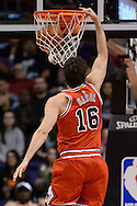 Nov 18, 2015; Phoenix, AZ, USA; Chicago Bulls center Pau Gasol (16) dunks the basketball in the first half of the NBA game against Phoenix Suns at Talking Stick Resort Arena. Mandatory Credit: Jennifer Stewart-USA TODAY Sports