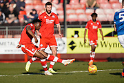 Matt Willock of Crawley Town shoots during the EFL Sky Bet League 2 match between Crawley Town and Macclesfield Town at The People's Pension Stadium, Crawley, England on 23 February 2019.