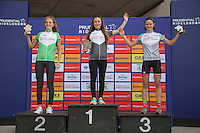LONDON UK 29TH JULY 2016:  Hannah Brehaut Alderney Baker Lucy Gadd Youth Girls A U16. Prudential RideLondon Grand Prix at the London Velo Park. Prudential RideLondon in London 29th July 2016<br /> <br /> Photo: Jed Leicester/Silverhub for Prudential RideLondon<br /> <br /> Prudential RideLondon is the world&rsquo;s greatest festival of cycling, involving 95,000+ cyclists &ndash; from Olympic champions to a free family fun ride - riding in events over closed roads in London and Surrey over the weekend of 29th to 31st July 2016. <br /> <br /> See www.PrudentialRideLondon.co.uk for more.<br /> <br /> For further information: media@londonmarathonevents.co.uk
