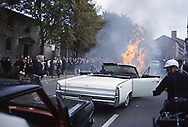 Fried's car on fire in LBJ's motorcade, Providence, RI. see image of New York Daily News front page.1964