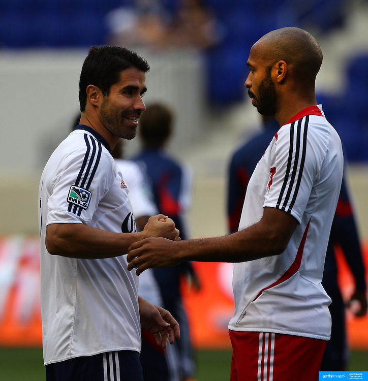 New York Red Bulls player Thierry Henry (right) with Chivas USA captain Juan Pablo Angel before the New York Red Bulls V Chivas USA Major League Soccer match at Red Bull Arena, Harrison, New Jersey, 23rd May 2012. Photo Tim Clayton