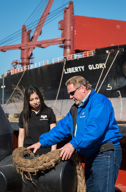 """Students from the Austin High School Maritime Academy tour the G&H Towing tug boat """"Zeus"""" at the Port of Houston, January 27, 2015."""