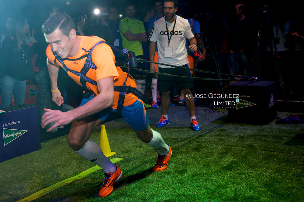 Gareth Bale presents new collection of footwear, Adidas Samba Pack, at Antonio Magarinos Pavilion on November 21, 2013 in Madrid