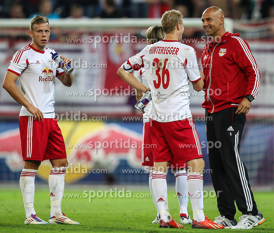 22.08.2013, Red Bull Arena, Salzburg, AUT, UEFA EL Play Off, FC Red Bull Salzburg vs VMFD Zalgiris, Hinspiel, im Bild Marco Meilinger, (FC Red Bull Salzburg, #11) und Martin Hinteregger, (FC Red Bull Salzburg, #36) nach dem Spiel// during UEFA Europa League Qualification 1st Leg Match between FC Red Bull Salzburg and VMFD Zalgiris at the Red Bull Arena, Salzburg, Austria on 2013/08/22. EXPA Pictures © 2013, PhotoCredit: EXPA/ Roland Hackl