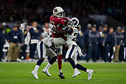 Arizona Cardinals Wide Receiver (13) Brown, Jaron is tackled by Los Angeles Rams Free Safety (20) Joyner, Lamarcus during the International Series match between Arizona Cardinals and Los Angeles Rams at Twickenham, Richmond, United Kingdom on 22 October 2017. Photo by Jason Brown.