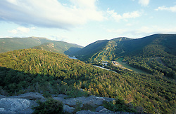 Franconia Notch State Park.  View from Bald Mountain of Cannon Mounain Ski Area, Echo Lake, and I-93 through the notch. Franconia Ridge.Franconia, NH