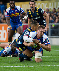 Stormers' Chris van Zyl, front, dives in to score a try against the Highlanders in the Super Rugby match, Forsyth Barr Stadium, Dunedin, New Zealand, Friday, March 9, 2018. Credit:SNPA / Adam Binns ** NO ARCHIVING**