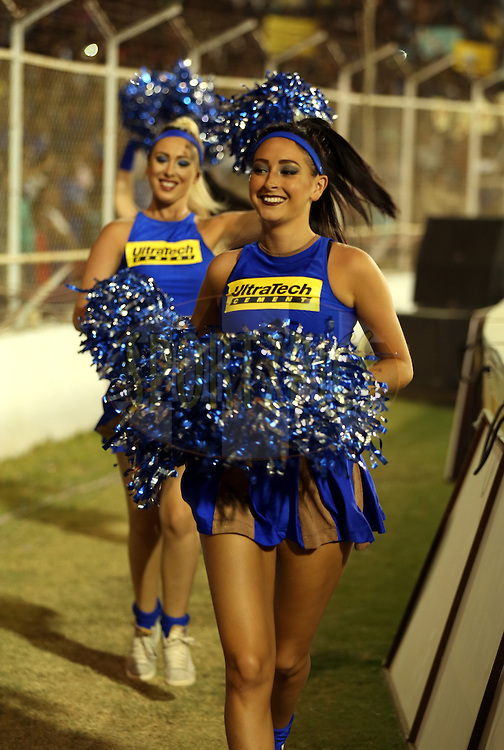 Cheer Girls of Rajasthan Royals arrives for the match 22 of the Pepsi IPL 2015 (Indian Premier League) between The Rajasthan Royals and The Royal Challengers Bangalore held at the Sardar Patel Stadium in Ahmedabad , India on the 24th April 2015.<br /> <br /> Photo by:  Sandeep Shetty / SPORTZPICS / IPL