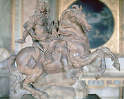 Monument to Louis XIV, 1670. Terracotta.  Gianlorezo Bernini (1598-1680) Italian artist, architect and leading sculptor of his day. Louis XIV of France, the Sun King (Roi Soleil) as Ancient Roman, mounted on prancing charger.