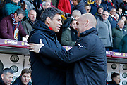Southampton manager Mauricio Pellegrino and Burnley's Manager Sean Dyche during the Premier League match between Burnley and Southampton at Turf Moor, Burnley, England on 24 February 2018. Picture by Paul Thompson.